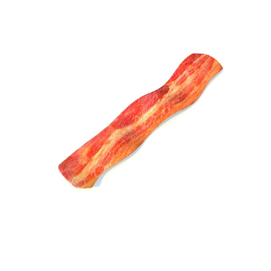 fried bacon (one) royalty-free 3d model - Preview no. 4