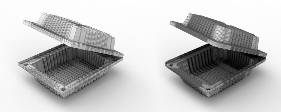 Plastic food container royalty-free 3d model - Preview no. 2