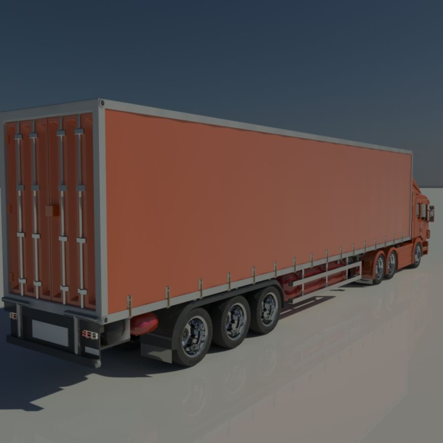 Truck Tractor And Trailers royalty-free 3d model - Preview no. 11