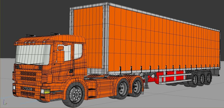Truck Tractor And Trailers royalty-free 3d model - Preview no. 3