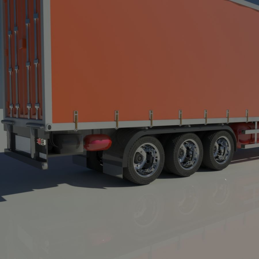 Truck Tractor And Trailers royalty-free 3d model - Preview no. 13