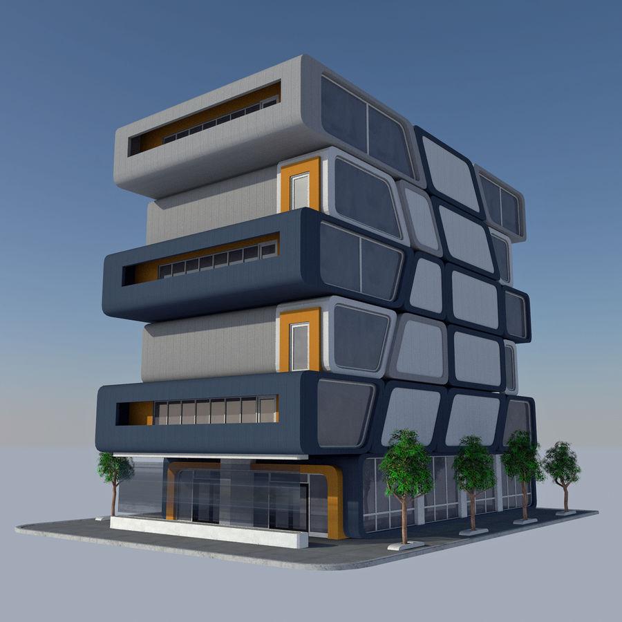 Modern Sci Fi Apartment City Building - HD Futuristic Cityscape Tile 7 royalty-free 3d model - Preview no. 3