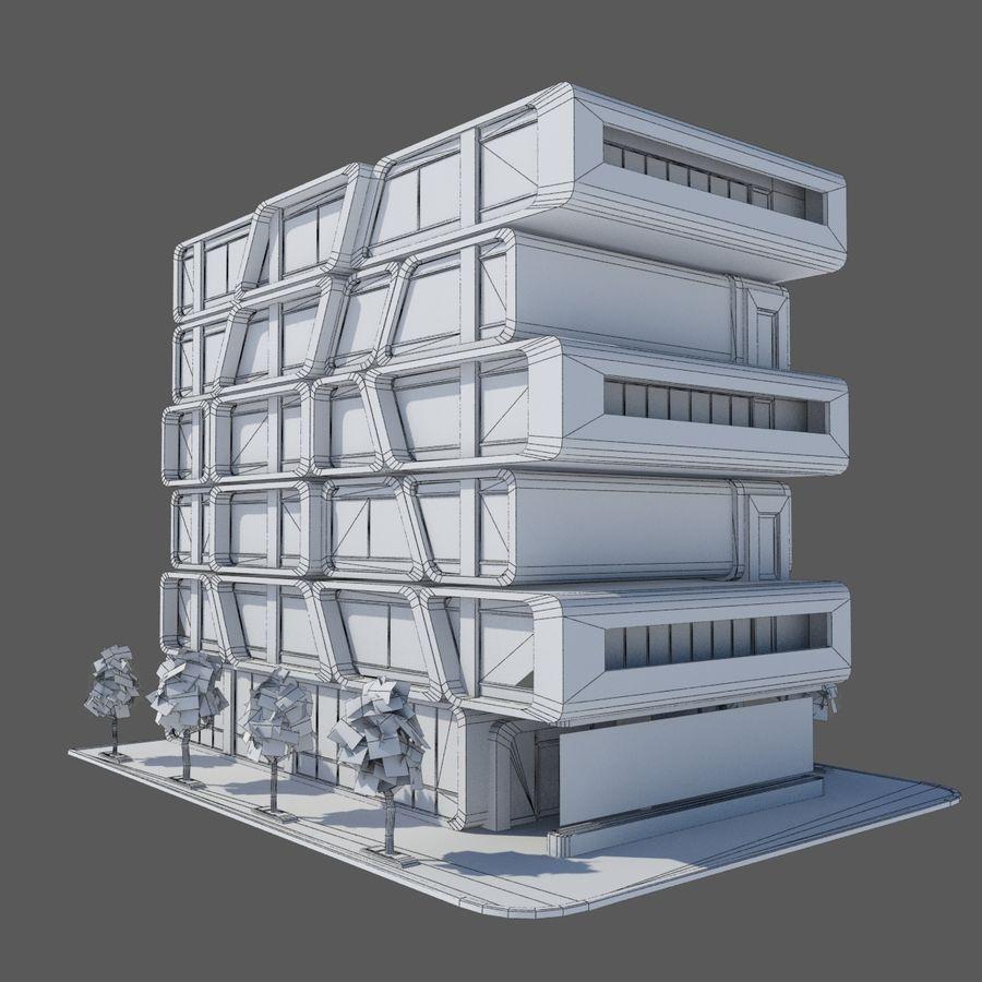 Modern Sci Fi Apartment City Building - HD Futuristic Cityscape Tile 7 royalty-free 3d model - Preview no. 5