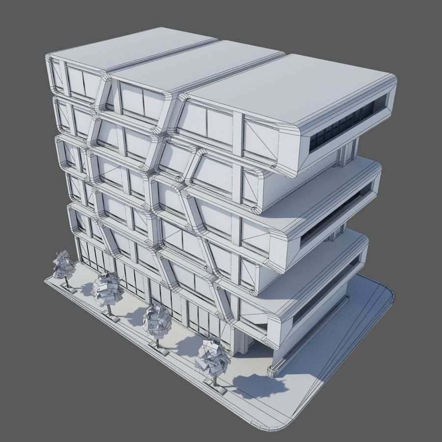 Modern Sci Fi Apartment City Building - HD Futuristic Cityscape Tile 7 royalty-free 3d model - Preview no. 6