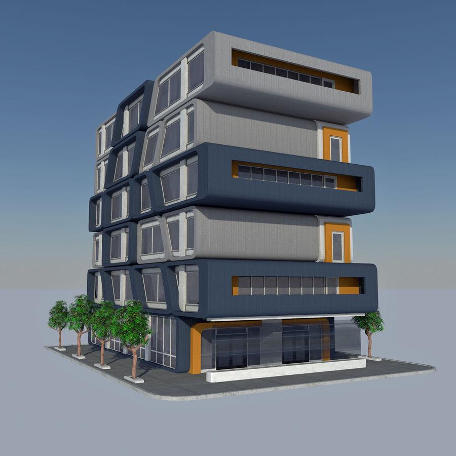 Modern Sci Fi Apartment City Building - HD Futuristic Cityscape Tile 7 royalty-free 3d model - Preview no. 4