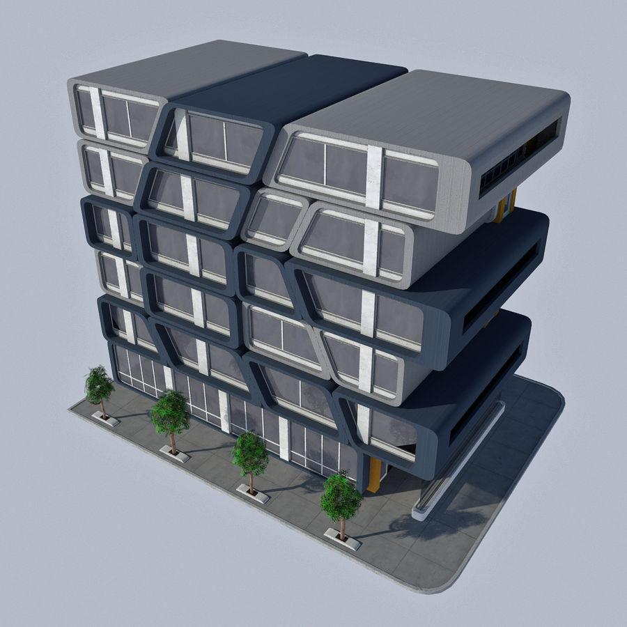 Modern Sci Fi Apartment City Building - HD Futuristic Cityscape Tile 7 royalty-free 3d model - Preview no. 2