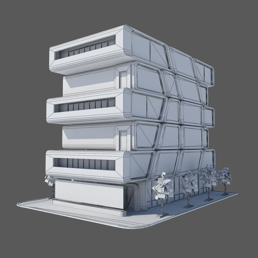Modern Sci Fi Apartment City Building - HD Futuristic Cityscape Tile 7 royalty-free 3d model - Preview no. 7