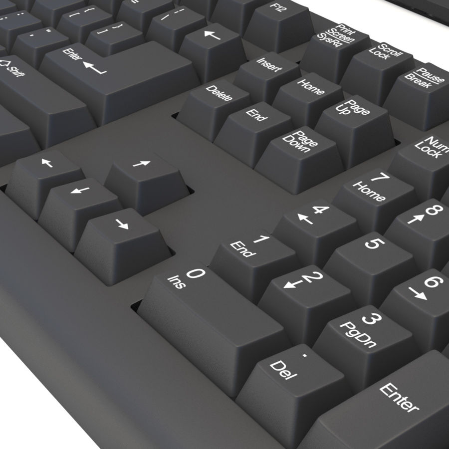Computer Monitor, Keyboard & Mouse royalty-free 3d model - Preview no. 4