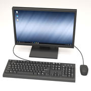 Computer Monitor, Keyboard & Mouse 3d model