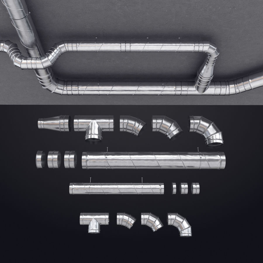 Air Conditioning Ducting royalty-free 3d model - Preview no. 1