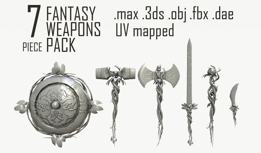 Fantasy-Waffen-Pack royalty-free 3d model - Preview no. 1