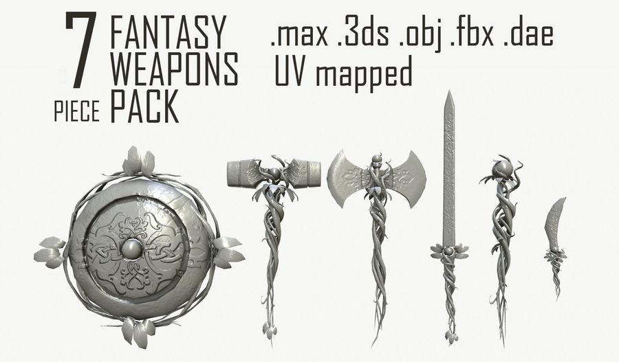 Pakiet broni fantasy royalty-free 3d model - Preview no. 1