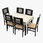Eettafel en stoelen 3d model