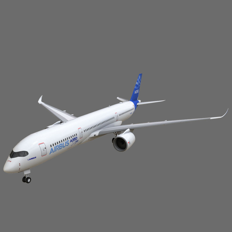 Airbus A350 - 900 royalty-free 3d model - Preview no. 4