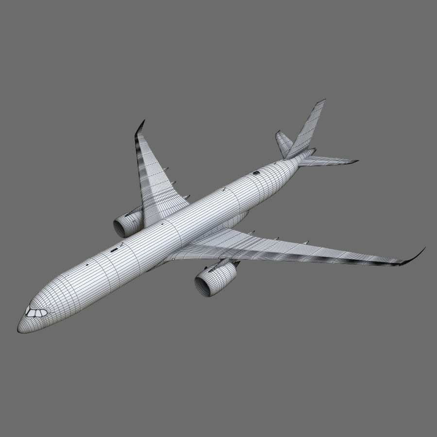Airbus A350 - 900 royalty-free 3d model - Preview no. 32