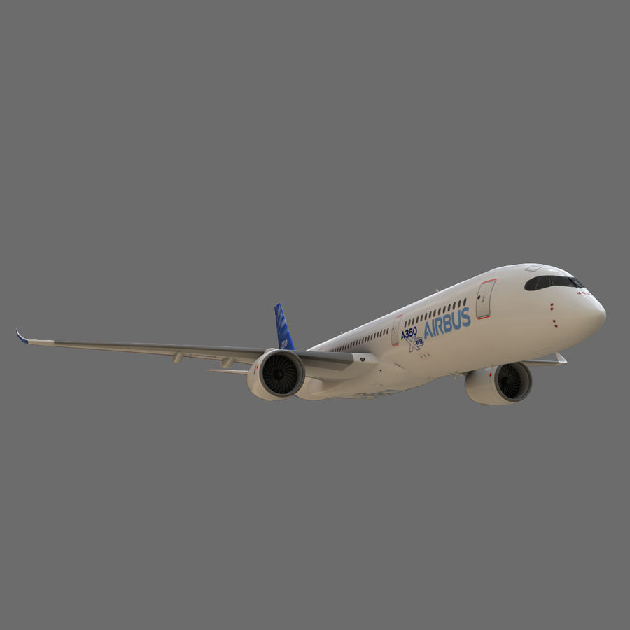 Airbus A350 - 900 royalty-free 3d model - Preview no. 10
