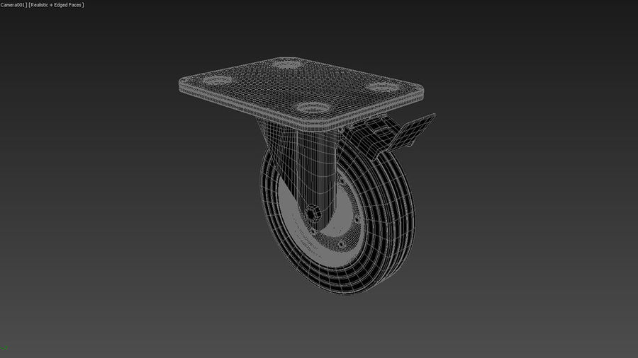 Caster wheel royalty-free 3d model - Preview no. 5