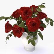 bukiet czerwonych róż 3d model