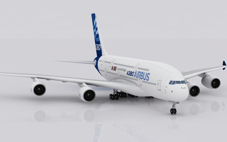Airbus A380 royalty-free 3d model - Preview no. 3