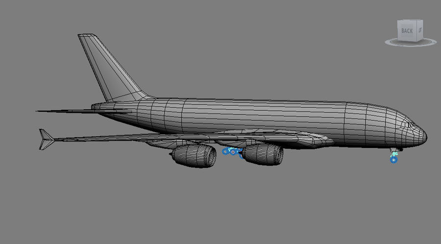 Airbus A380 royalty-free 3d model - Preview no. 7