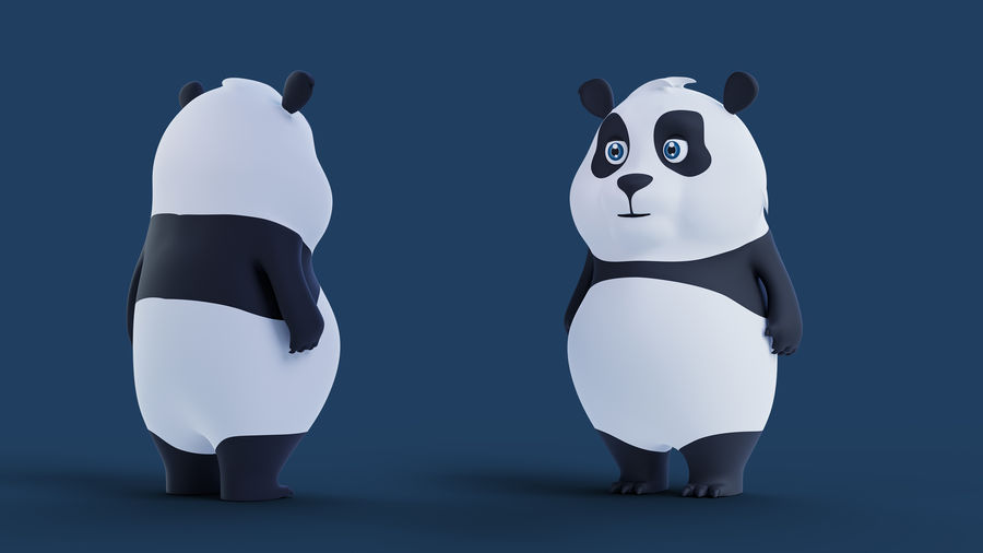 Low Poly Panda royalty-free 3d model - Preview no. 2
