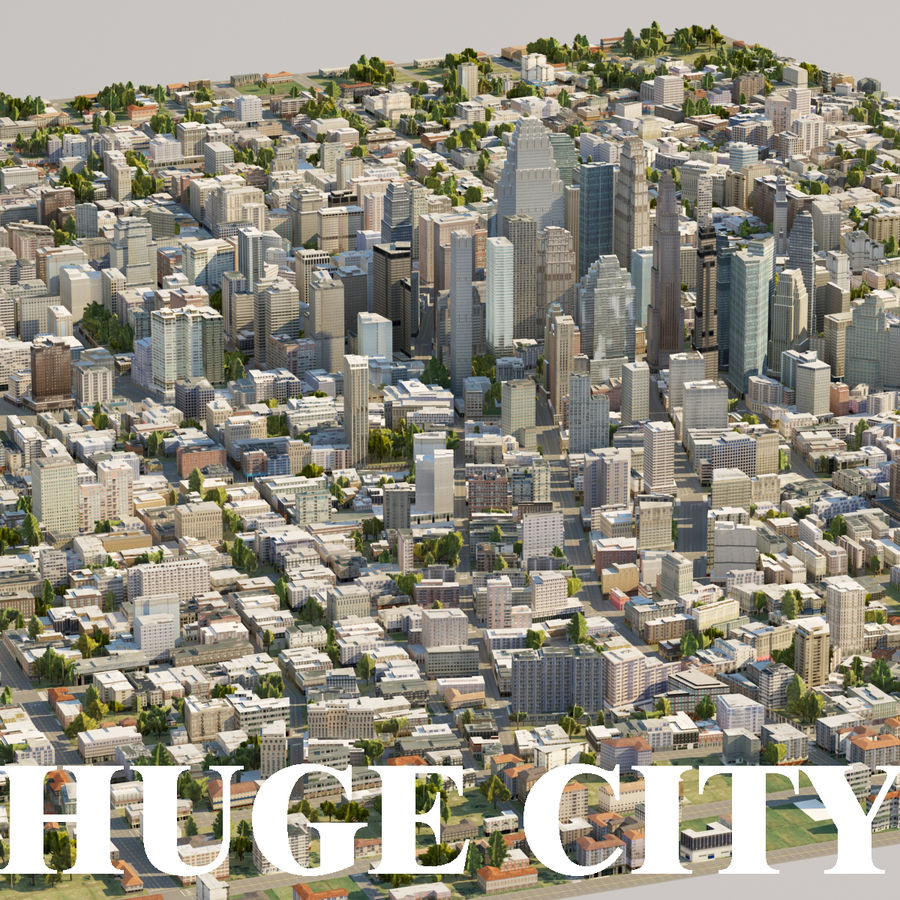 Huge City royalty-free 3d model - Preview no. 1
