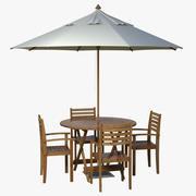 池畔桌椅和伞 3d model