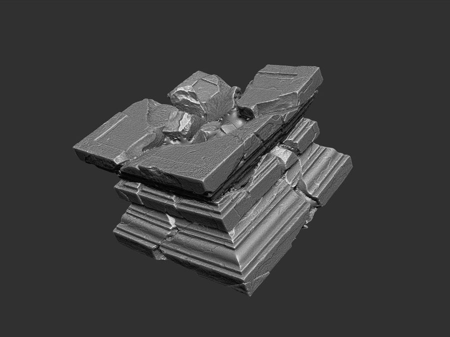 Ancient Broken Stone royalty-free 3d model - Preview no. 7