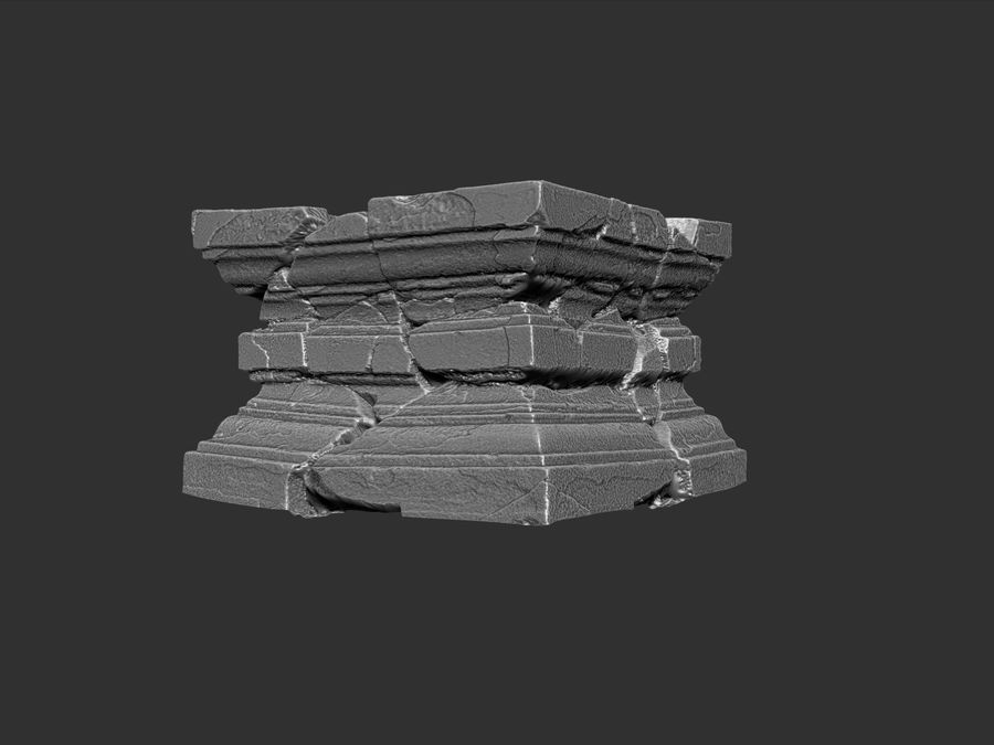 Ancient Broken Stone royalty-free 3d model - Preview no. 8