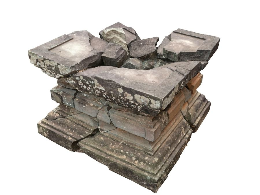Ancient Broken Stone royalty-free 3d model - Preview no. 4