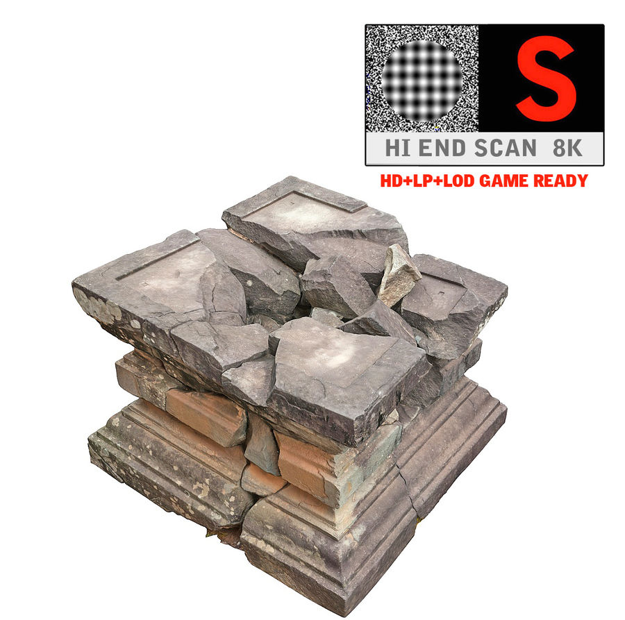 Ancient Broken Stone royalty-free 3d model - Preview no. 1