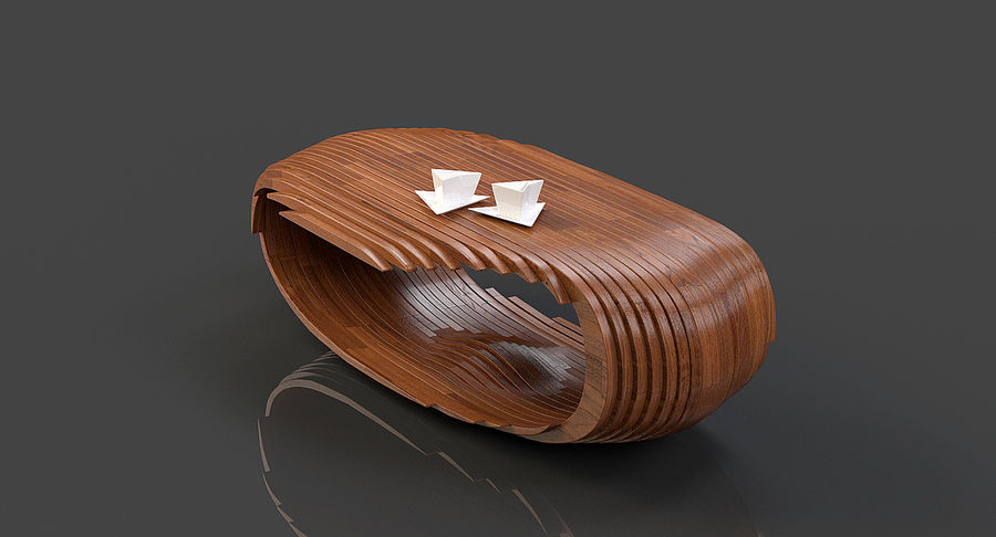 Mesa CB Coffee Table royalty-free 3d model - Preview no. 3