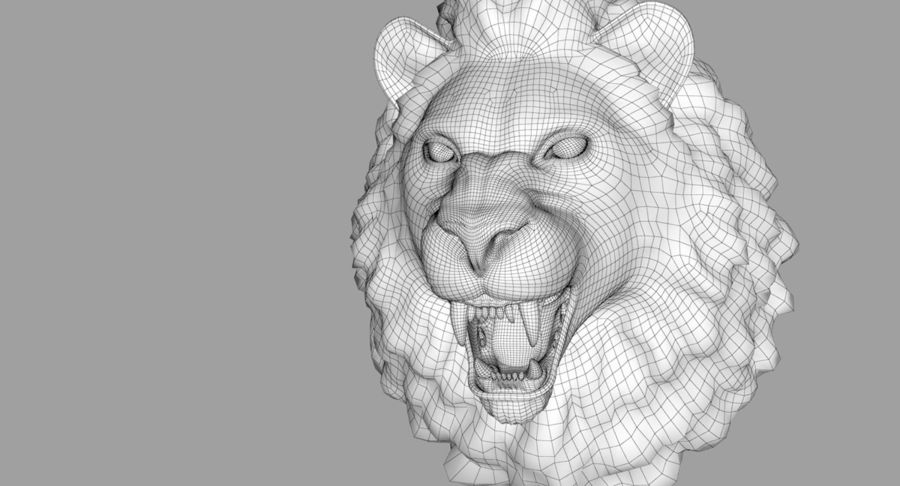 Lion Head Sculpture royalty-free 3d model - Preview no. 35
