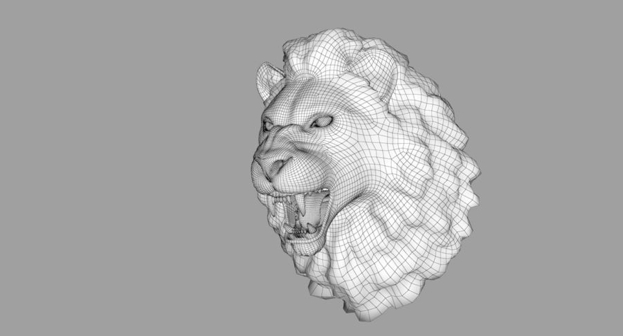 Lion Head Sculpture royalty-free 3d model - Preview no. 32