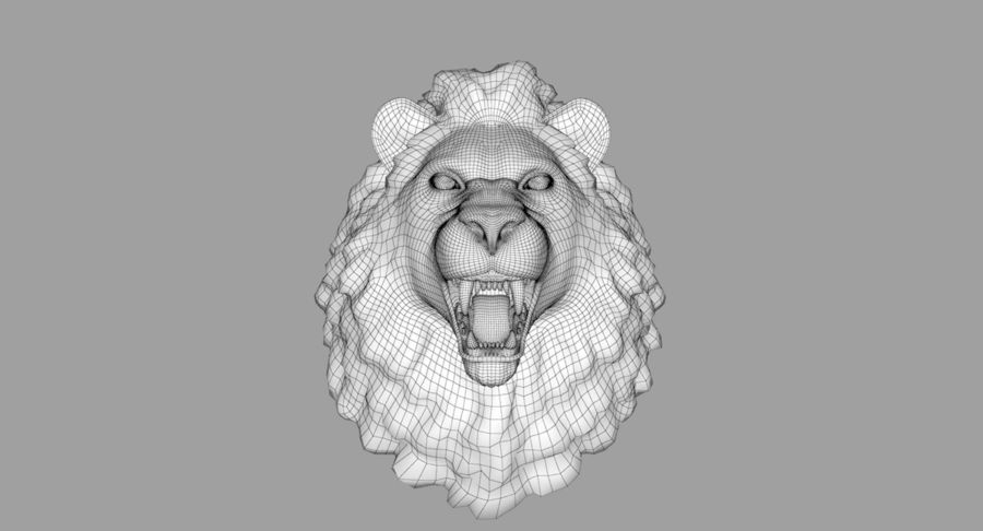 Lion Head Sculpture royalty-free 3d model - Preview no. 24
