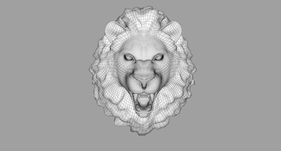 Lion Head Sculpture royalty-free 3d model - Preview no. 30