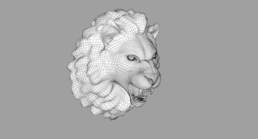 Lion Head Sculpture royalty-free 3d model - Preview no. 27