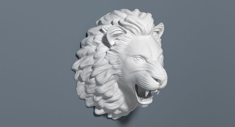 Lion Head Sculpture royalty-free 3d model - Preview no. 9