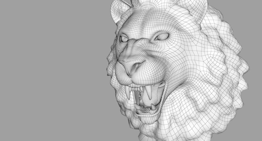 Lion Head Sculpture royalty-free 3d model - Preview no. 36