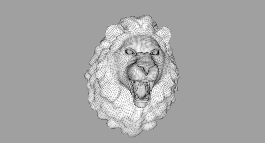 Lion Head Sculpture royalty-free 3d model - Preview no. 34
