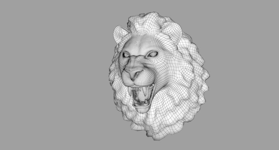 Lion Head Sculpture royalty-free 3d model - Preview no. 23