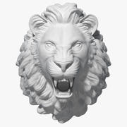 Lion Head Sculpture 3d model