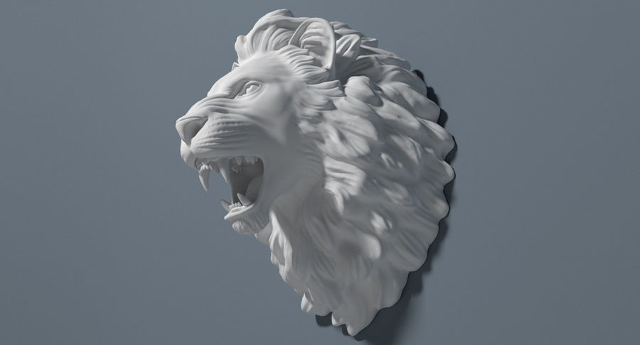 Lion Head Sculpture royalty-free 3d model - Preview no. 11