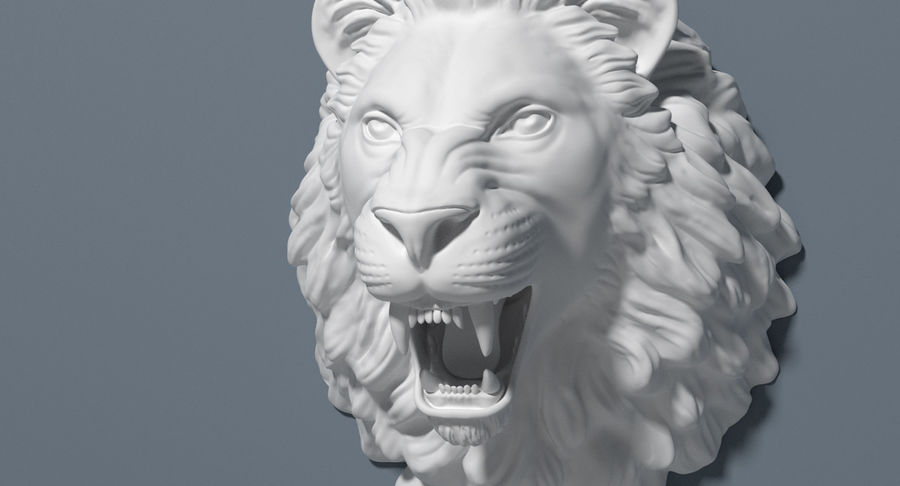 Lion Head Sculpture royalty-free 3d model - Preview no. 17