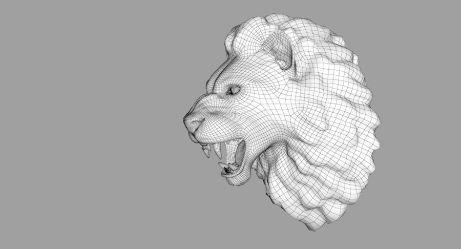 Lion Head Sculpture royalty-free 3d model - Preview no. 26