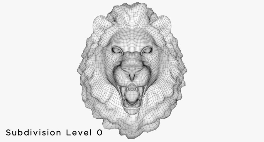 Lion Head Sculpture royalty-free 3d model - Preview no. 19