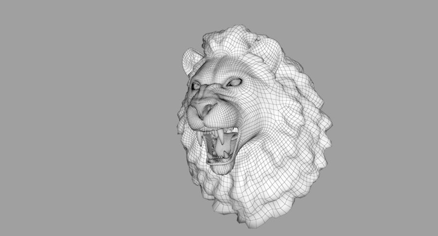 Lion Head Sculpture royalty-free 3d model - Preview no. 25