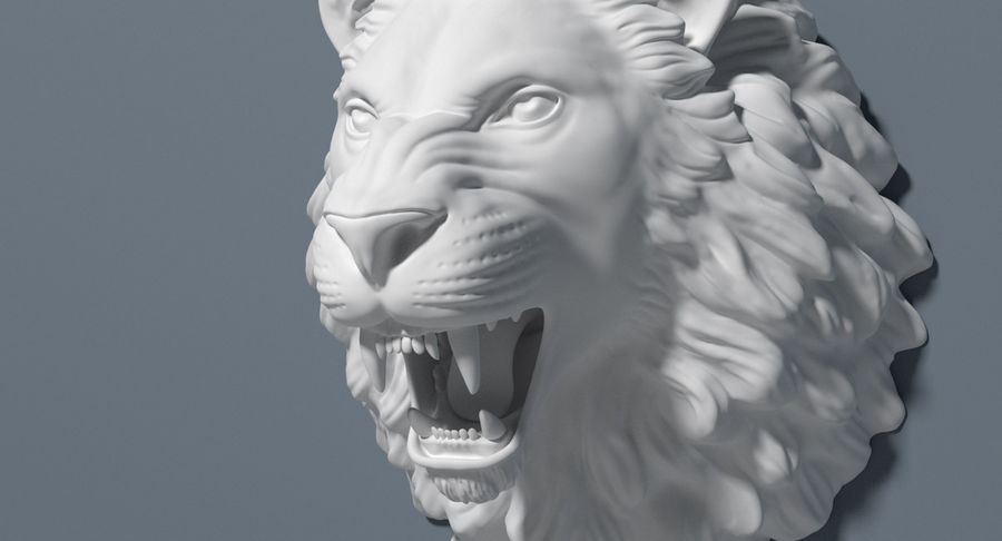 Lion Head Sculpture royalty-free 3d model - Preview no. 18