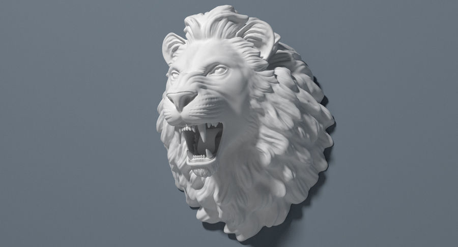 Lion Head Sculpture royalty-free 3d model - Preview no. 7