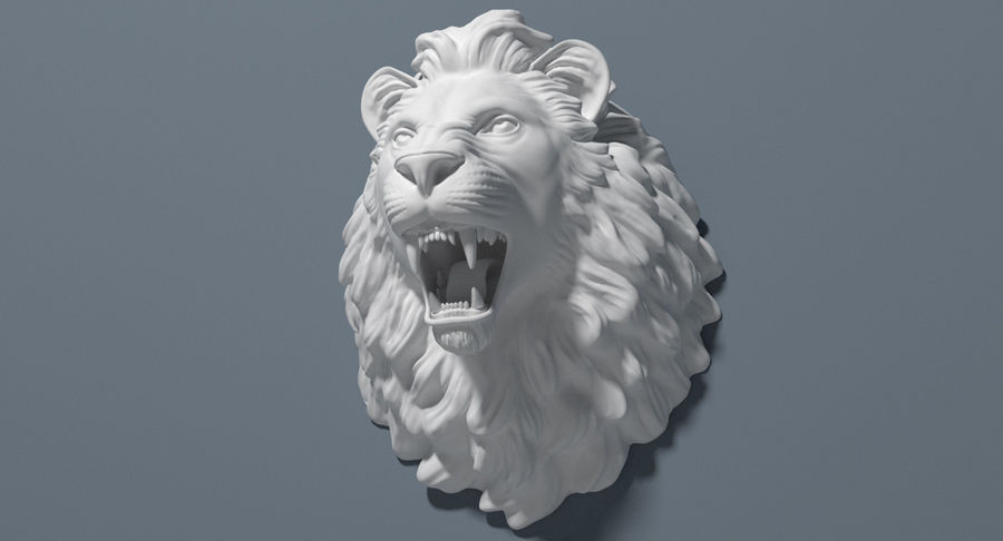 Lion Head Sculpture royalty-free 3d model - Preview no. 10